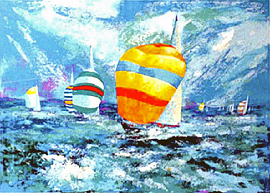 spinnakers sailing serigraph by mark king alliance art publishing for sale prints. Black Bedroom Furniture Sets. Home Design Ideas