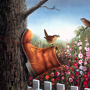 """Home in a boot Birdhouse Print By Les Kouba Signed and Numbered  12/"""" x 8/"""""""